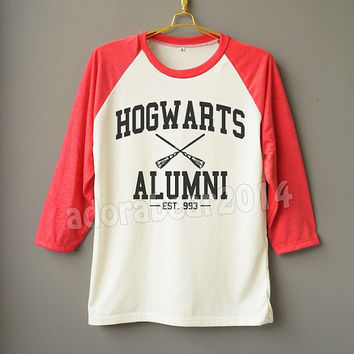 Hogwarts Alumni Shirt Harry Potter Shirt Magic Spell Shirt Raglan Baseball Shirt Unisex Shirt Women Shirt Men Shirt Jersey Long Sleeve Shirt