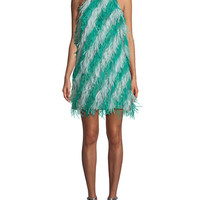 J. Mendel Sleeveless Feather-Striped Cocktail Dress