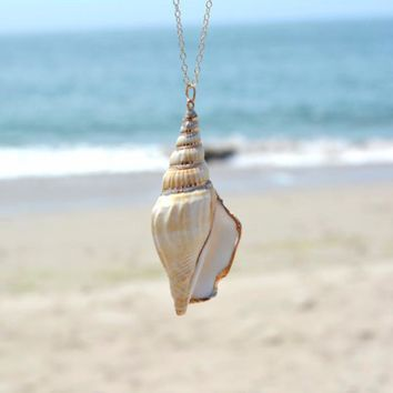 New Fashion Ocean winds Chain Necklace conch Shell Pendant necklace For Women Gift XL105