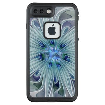 Floral Beauty Abstract Modern Blue Pastel Flower LifeProof FRĒ iPhone 7 Plus Case