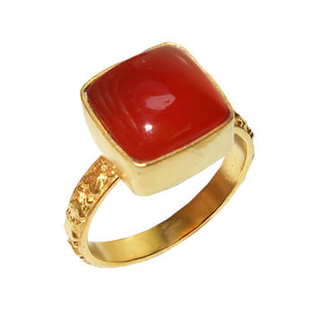 Gold Plated Ring, Red Carnelian Ring, Bezel Set Ring, Cabochon Ring, Stacking Ring, Cushion Cut Ring, Gift Ring, Red Gemstone Ring, Mom Gift