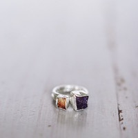 Rough gemstone stacking rings - set of two rings - rough amethyst ring - rough citrine ring - sterling silver ring - trending jewelry - raw