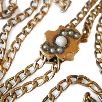 Victorian Watch Fob, Gold Filled Chain, Opal Seed Pearl, Slider Bolo, HFB, H F Barrows, Antique Jewelry