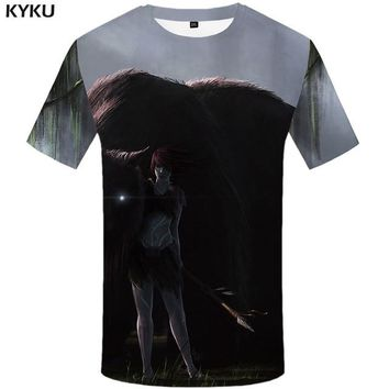 KYKU Dragon T-shirt Men Yin Yang Tshirt Animal Funny Moon 3d Print T Shirt Punk Rock Clothes Hip Hop Mens Clothing Summer Tops