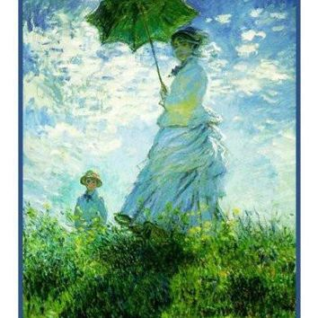 Woman with a Parasol inspired by Claude Monet's impressionist painting Counted Cross Stitch or Counted Needlepoint Pattern