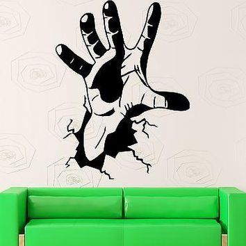 Wall Stickers Hand Crack Joke Funny Cool Room Decor Bedroom Vinyl Decal Unique Gift (i1027)