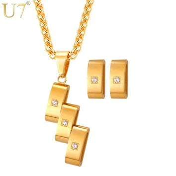 U7 Jewelry Sets Geometric Shape Earrings Necklace Set Women Gift Rhinestone Silver/Gold Color Stainless Steel Jewellery S1018