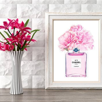 Printable art COCO CHANEL perfum bottle, perfum bottle with flowe, chanel no.5, watercolor perfum, instant download