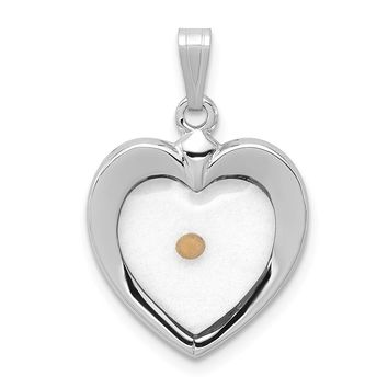 925 Sterling Silver Rhodium Plated Large Heart Shaped with Mustard Seed Pendant
