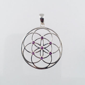 Sacred Geometry, Sterling Silver Seed of Life Pendant with Amethysts