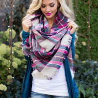 Perfect for Fall Oversized Blanket Scarf Pink