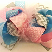 Cotton Candy Deluxe Bow Clip