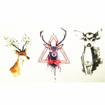 10x6cm Temporary Small Cute Fashion Tattoo Three Small deer
