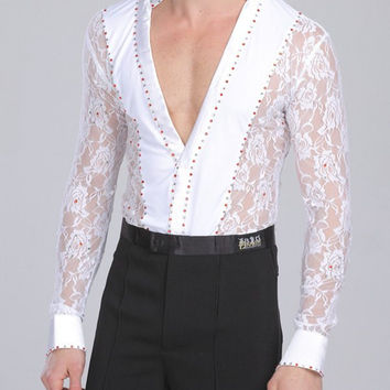 Alluring Plunging Neck Lace Spliced Long Sleeve Dance Bodysuit