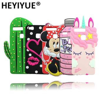 P9 Lite Silicone Case 3D Cactus Owl Captain American Tiger Minions Bunny Pig Bear Cat Phone Case Cover For Huawei Ascend P9 Lite
