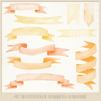 Watercolor clipart ribbons and banners (40 pc) orange yellow saffron. hand painted for logo design, blogs, cards, printables, wall art