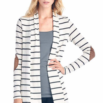 Charcoal Striped Cardigan With Suede Elbow Patch