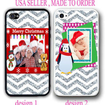 CUSTOM PHOTO IMAGE CHEVRON RED CHRISTMAS GIFT CASE COVER FOR IPHONE 6 6S 5S 5C 4
