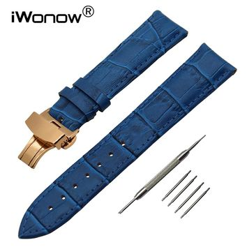 Genuine Leather Watchband for Breitling Omega Mido Replacement Watch Band Butterfly Clasp Strap 14/16/18/19/20/21/22/23/24/26mm