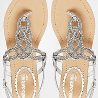 Head Over Heels By Dune Niko Silver Beaded Flat Sandals