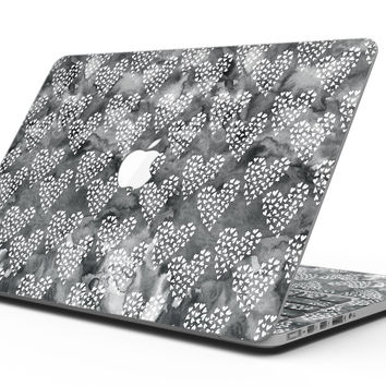 Black and White Watercolor Hearts - MacBook Pro with Retina Display Full-Coverage Skin Kit