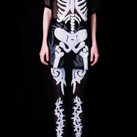 DI$COUNT TRA$H SKELETON MESH SEQUIN TEE