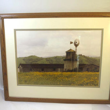 Sonoma Picture California Spring Time Farm Windmill Photograph Greens Gold Oak Studio Frame Matted 15 x 19 in Vintage California Photograph