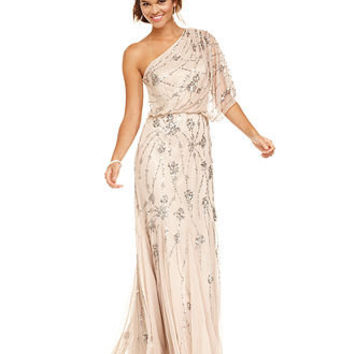 Adrianna Papell Dress, Short-Sleeve One-Shoulder Beaded Blouson Gown - Juniors Dresses - Macy's