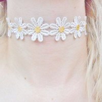 90s Daisy Pastel Summer Magical Fairy Fae Grunge Flower Floral Choker Necklace Jewellery Jewelry