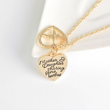 New Two Heart, one Heart Beat Mother&daughter Mother's Day Daughter Necklace and Pendant