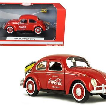 """1966 Volkswagen Beetle """"Coca Cola"""" with Rear Decklid Rack and 2 Bottle Cases 1-24 Diecast Model Car by Motorcity Classics"""