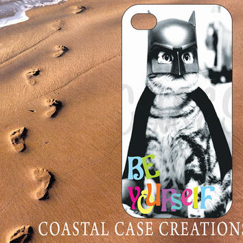 Apple iPhone 4 4G 4S 5G Hard Plastic Cell Phone Case Cover Original Trendy Stylish Batman Kitty Quote Design
