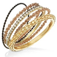 Material Girl Bracelet Set, Tri-Tone Bangle Bracelets