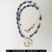 Peace Necklace, Red and Blue Beaded Necklace, Peace Jewelry, Peace Bead Necklace, Peace Pendant Necklace, World Peace, Peace, Blue Red Pearl
