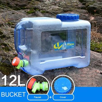Mounchain Outdoor 12 / 18 L Thicken Plastic Water bag Tank Portable Tote Bucket Water Carrier with Water Faucet water barrel PE