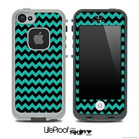 V4 Chevron Pattern Black and Aqua Green Skin for the iPhone 5 or 4/4s LifeProof Case