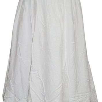 Womens Skirt Fashionable White Panel Embroidered Peasant Skirts S/M