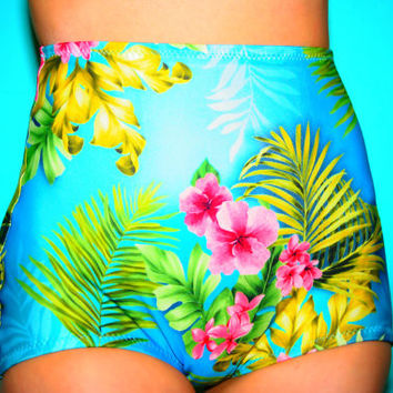 Blue Hawaii Tropical Floral High Waist Bikini Bottom
