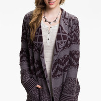 Rubbish® Draped Nordic Knit Cardigan (Juniors) | Nordstrom
