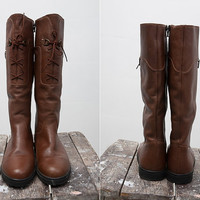 Warm Vintage Light Brown Leather Riding Boots with Fur / Europe Size 38 / US size 8 / Women Shoes