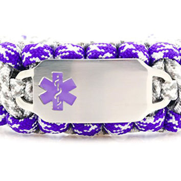 550 Paracord Bracelet with Wide Rectangle Engraved Stainless Steel Medical ID Tag - Purple