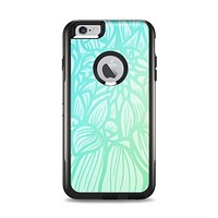 The Faded Blue & Green Subtle Floral Apple iPhone 6 Plus Otterbox Commuter Case Skin Set