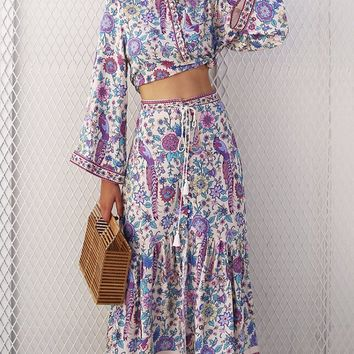 Boho Bombshell Floral Pattern Long Flare Sleeve Button Mock Neck Tassel Two Piece Midi Dress - 2 Colors Available