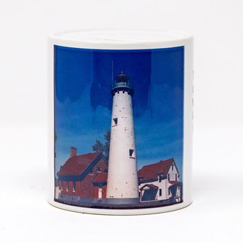 Tawas Point Lighthouse Coin Bank, Ceramic, Hand Imprinted Photograph