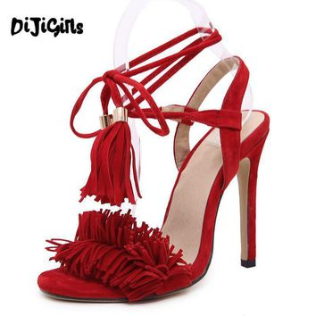 Women Summer Shoes High Heel sandals sexy Tassels women sandals gladiator Sandals Lace