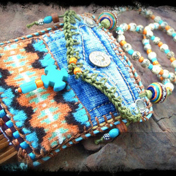 Mini Denim Aztec MEDICINE bag Native American INDIAN medicine bag, CROSS charm turquoise Shaman necklace Fringe necklace