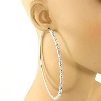 "3.60"" silver crystal large hoop pierced earrings prom pageant bridal"