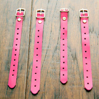 Four (4) genuine pink leather cord organizers, strap cord, belt tie, strap holder, ear bud organizer, eco-friendly leather with metal buckle