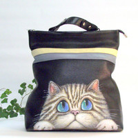 Leather backpack, black leather backpack with hand-painted portrait of a cat, cats backpack gray tabby cat