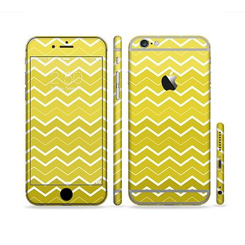 The Yellow Gradient Layered Chevron Sectioned Skin Series for the Apple iPhone 6 Plus